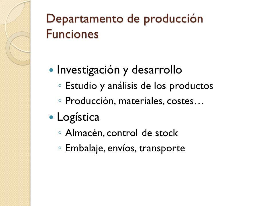 Departamento de producción Funciones