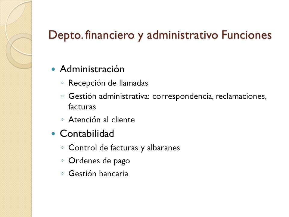 Depto. financiero y administrativo Funciones