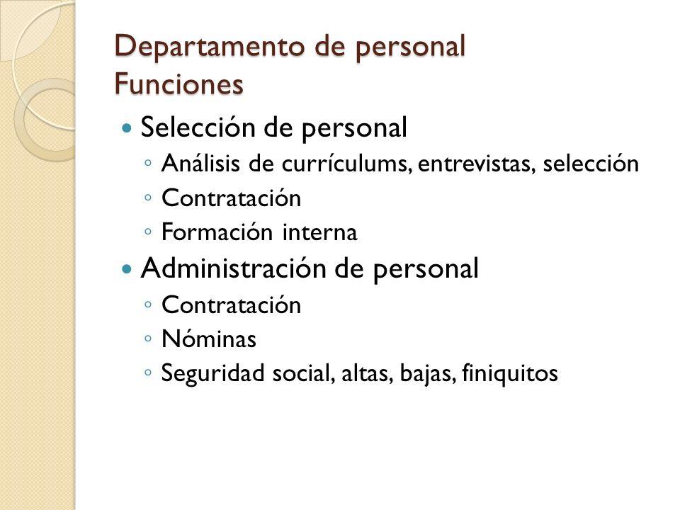 Departamento de personal Funciones
