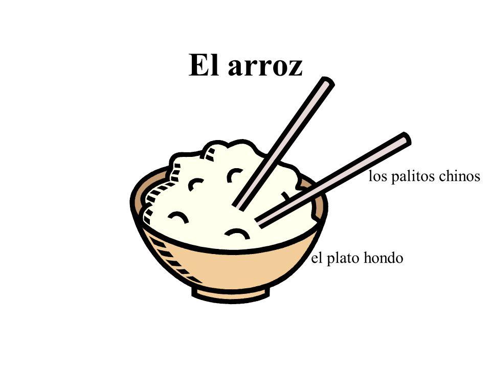 El arroz los palitos chinos el plato hondo