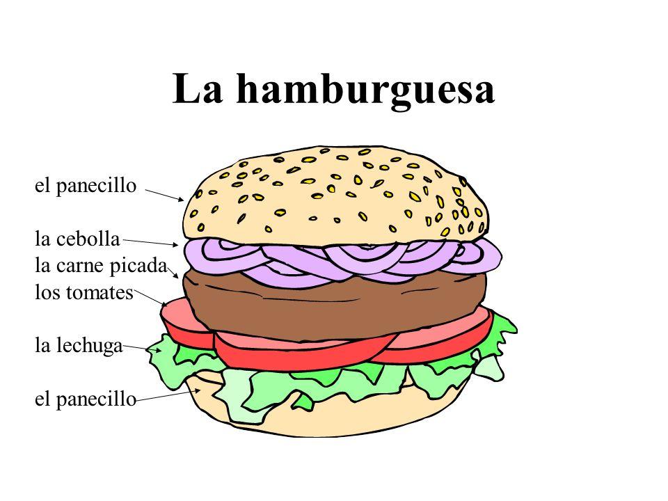 La hamburguesa el panecillo la cebolla la carne picada los tomates