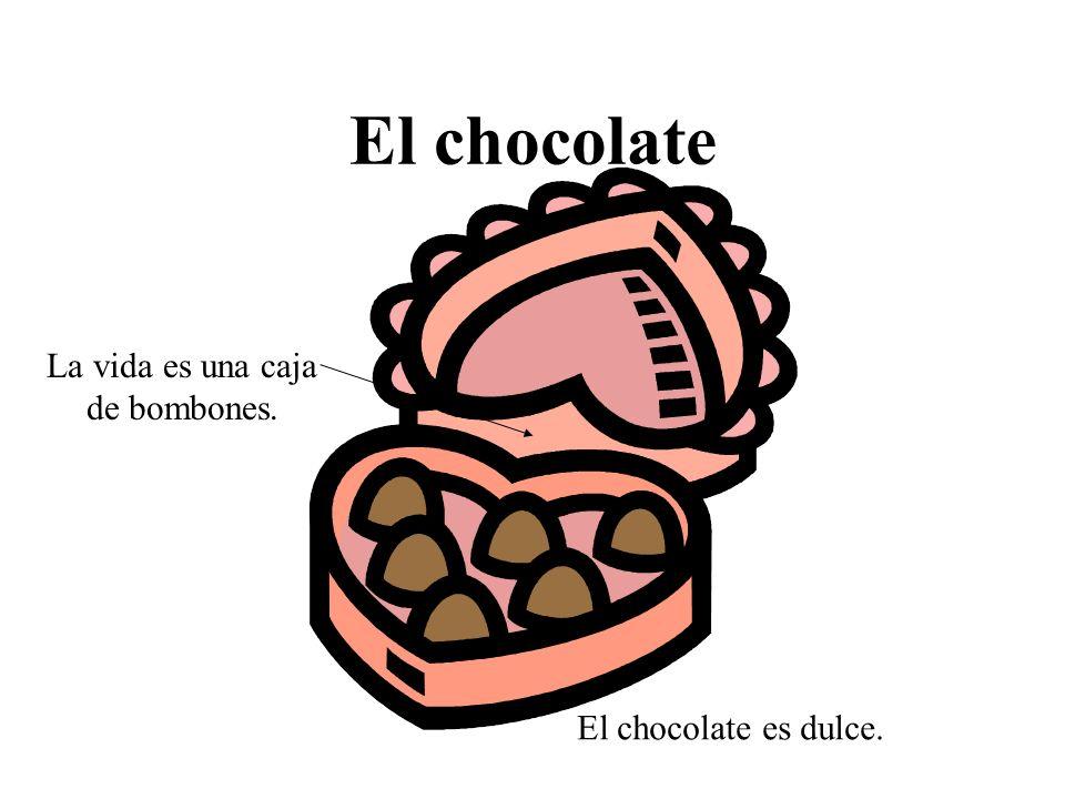 El chocolate La vida es una caja de bombones. El chocolate es dulce.