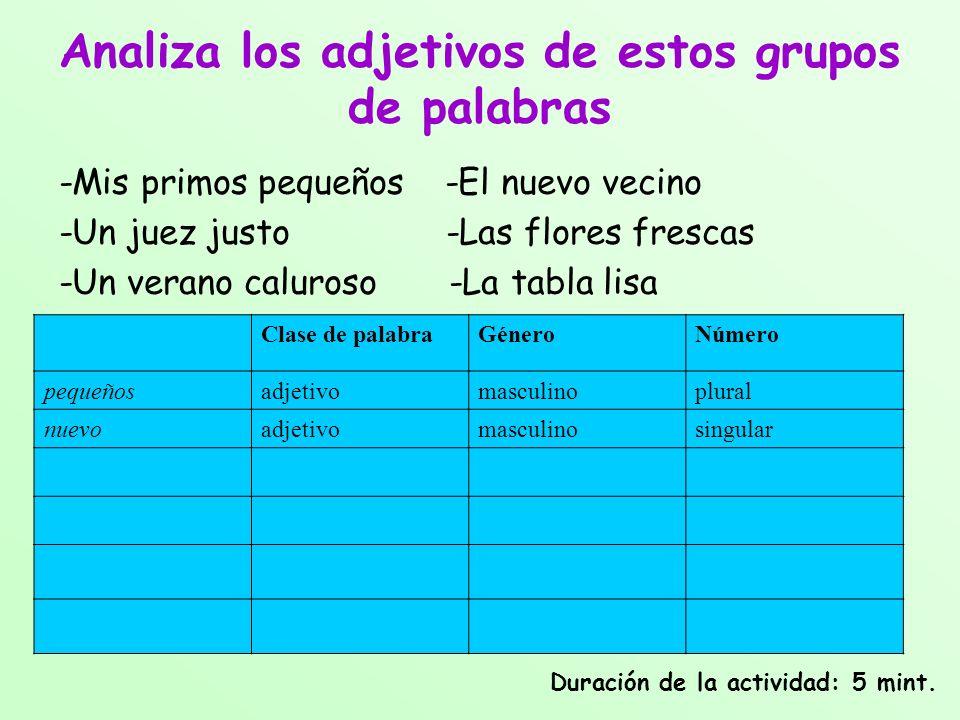 Analiza los adjetivos de estos grupos de palabras