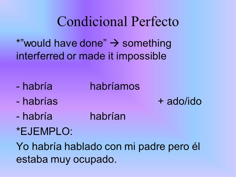 Condicional Perfecto* would have done  something interferred or made it impossible. habría habríamos.