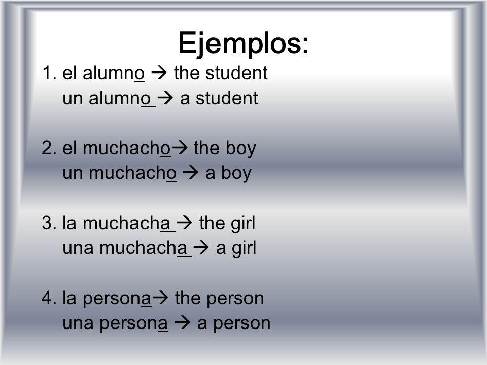 Ejemplos: 1. el alumno  the student un alumno  a student