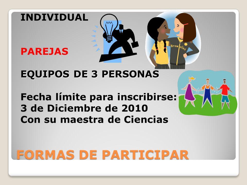 INDIVIDUAL PAREJAS EQUIPOS DE 3 PERSONAS Fecha límite para inscribirse: 3 de Diciembre de 2010 Con su maestra de Ciencias