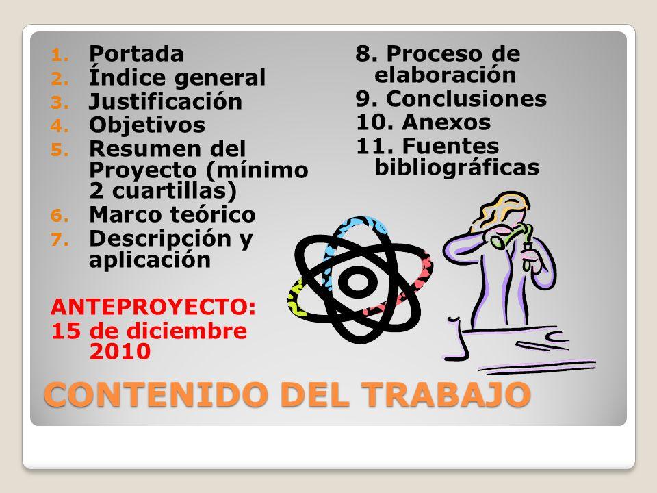 CONTENIDO DEL TRABAJO Portada Índice general Justificación Objetivos
