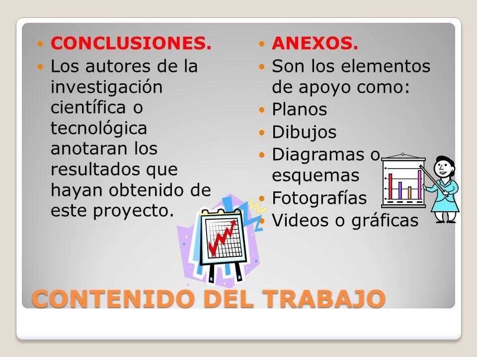 CONTENIDO DEL TRABAJO CONCLUSIONES.