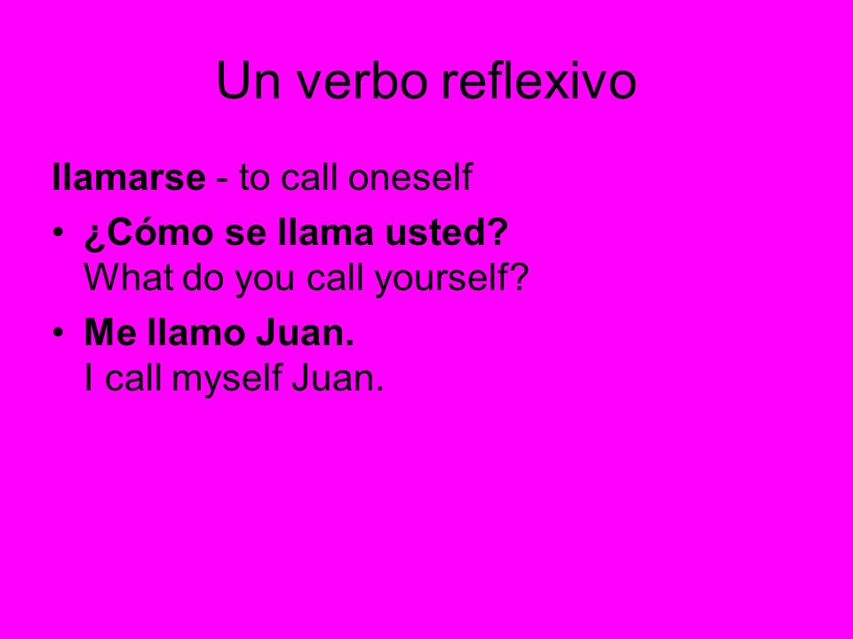 Un verbo reflexivo llamarse - to call oneself