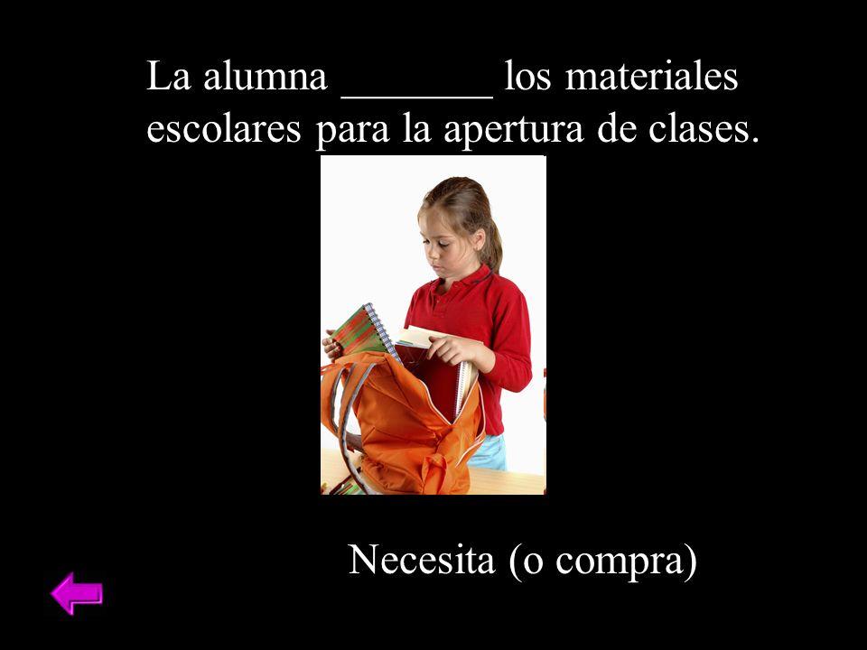La alumna _______ los materiales