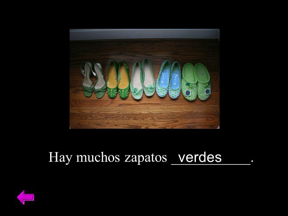 Hay muchos zapatos ___________.