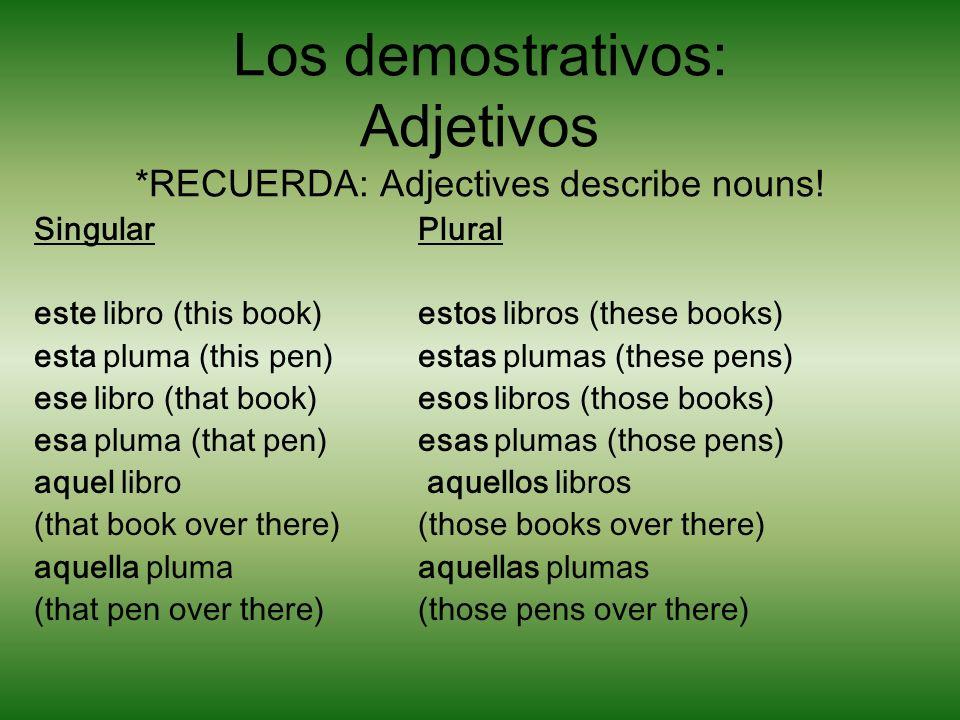Los demostrativos: Adjetivos *RECUERDA: Adjectives describe nouns!