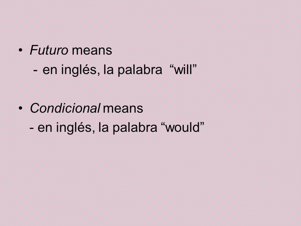 Futuro means en inglés, la palabra will Condicional means - en inglés, la palabra would
