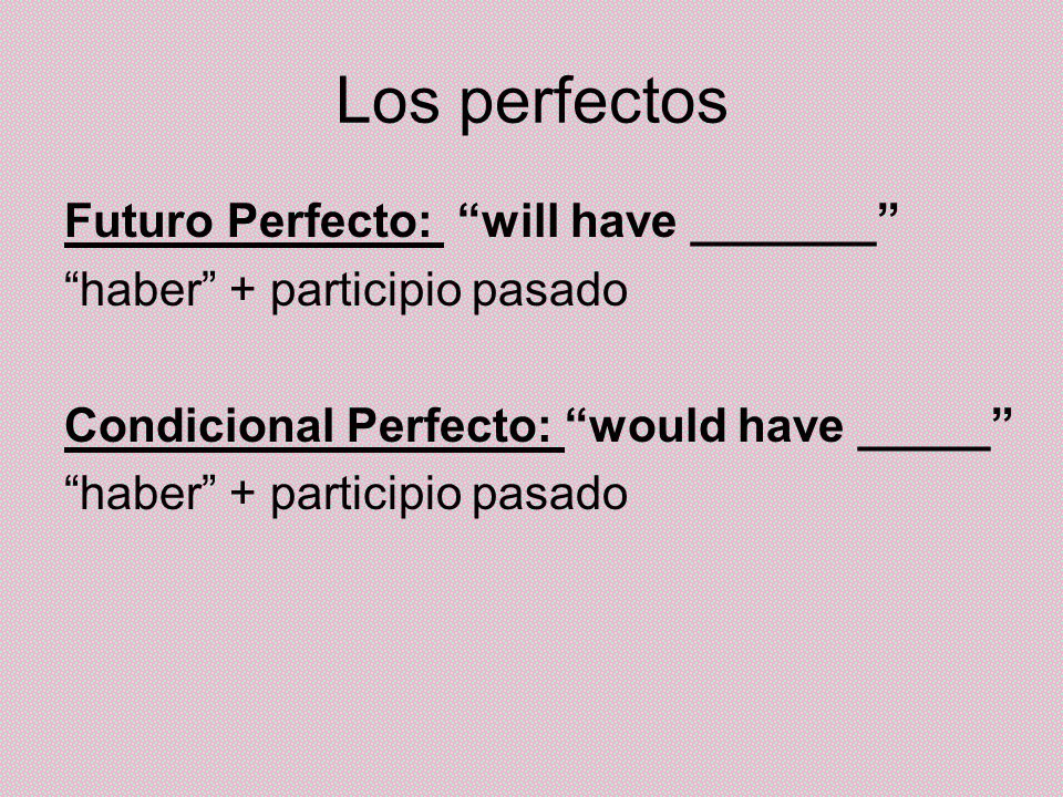 Los perfectos Futuro Perfecto: will have _______