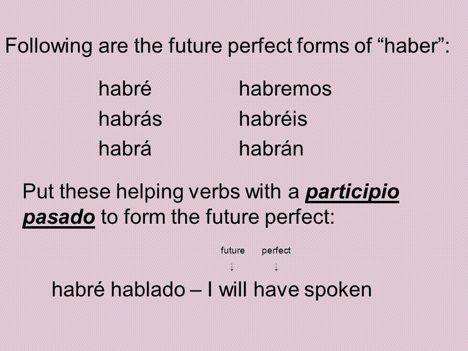Following are the future perfect forms of haber : habré habremos