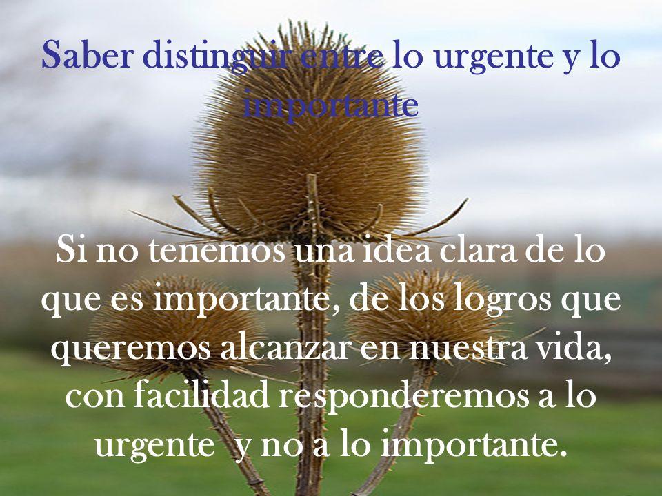 Saber distinguir entre lo urgente y lo importante Si no tenemos una idea clara de lo que es importante, de los logros que queremos alcanzar en nuestra vida, con facilidad responderemos a lo urgente y no a lo importante.