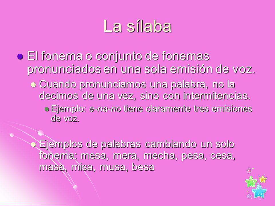 La sílaba El fonema o conjunto de fonemas pronunciados en una sola emisión de voz.