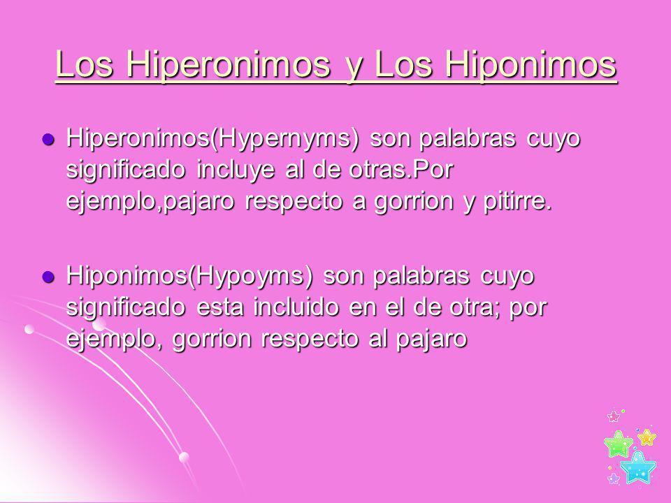 Los Hiperonimos y Los Hiponimos