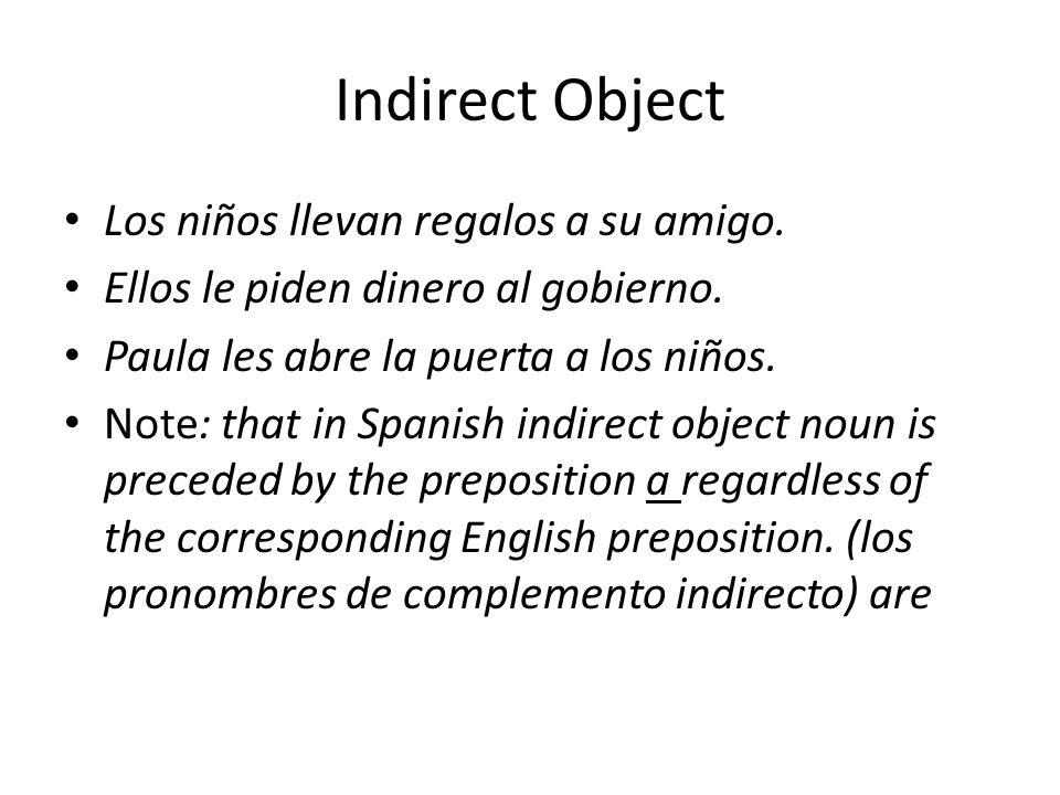 Indirect Object Los niños llevan regalos a su amigo.