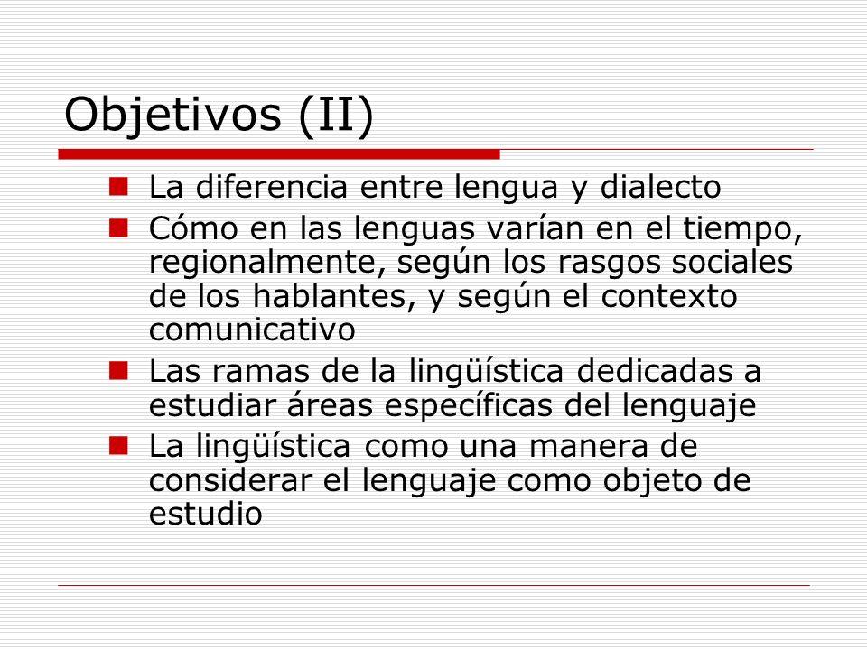 Objetivos (II) La diferencia entre lengua y dialecto