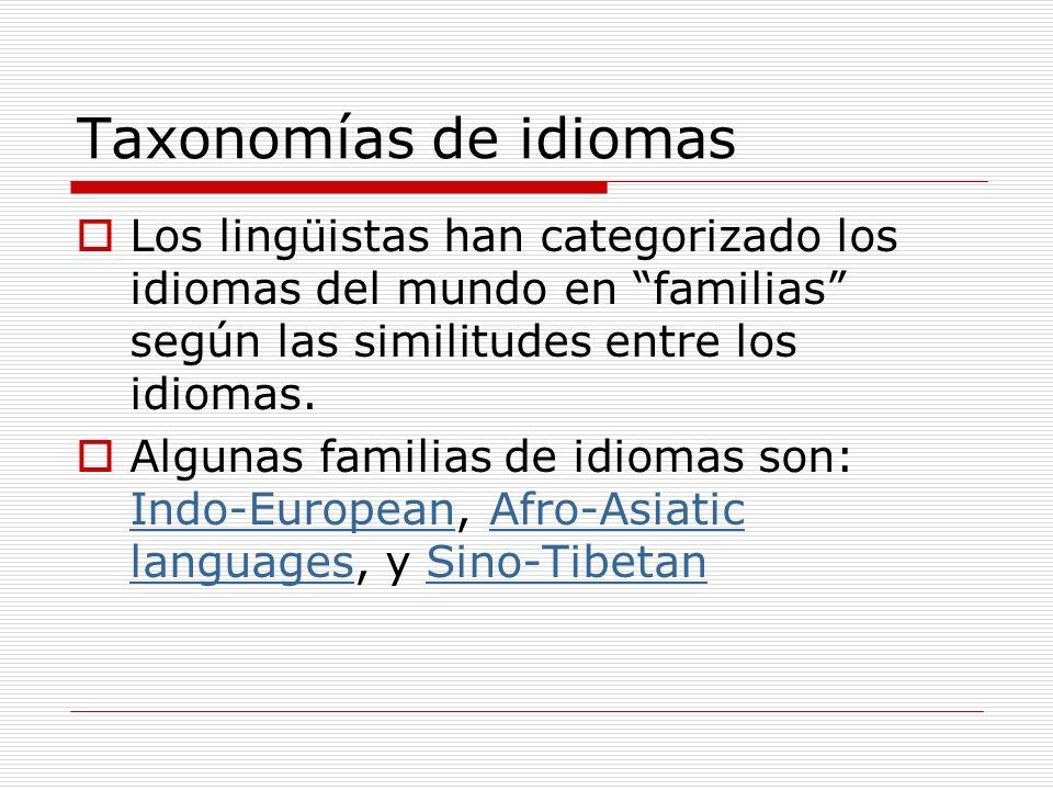 Taxonomías de idiomasLos lingüistas han categorizado los idiomas del mundo en familias según las similitudes entre los idiomas.