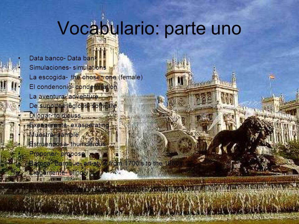 Vocabulario: parte uno