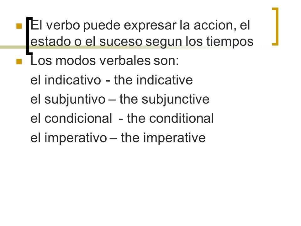 El verbo puede expresar la accion, el estado o el suceso segun los tiempos