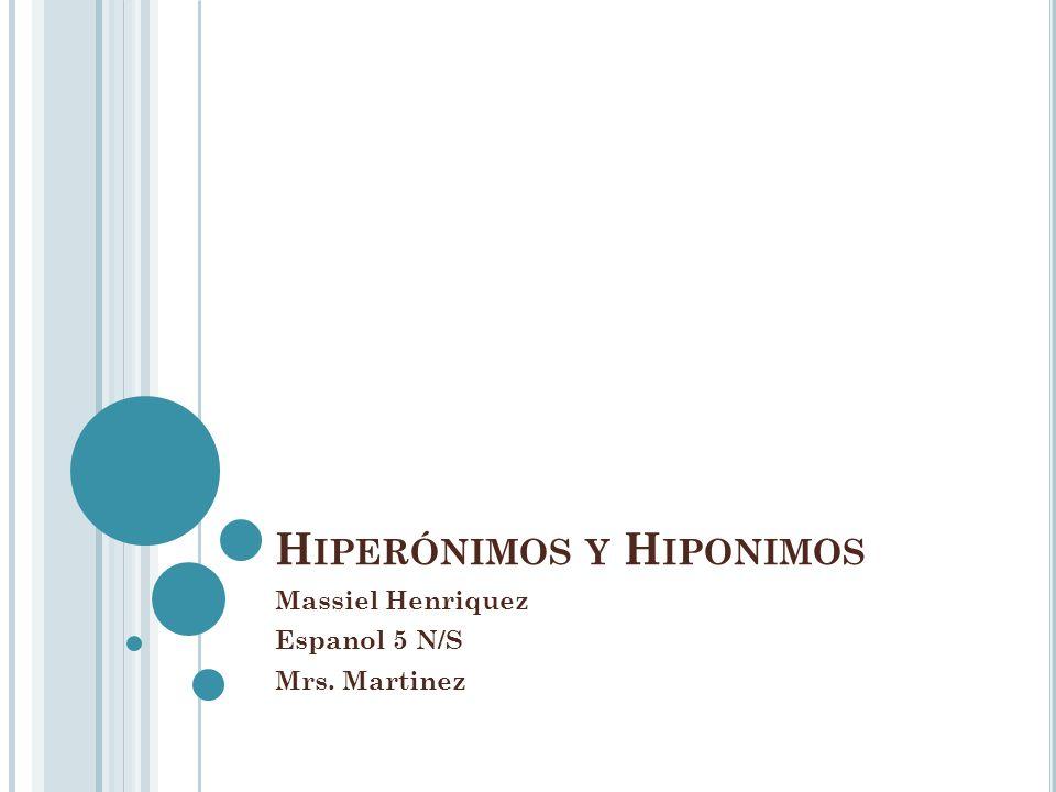 Hiperónimos y Hiponimos