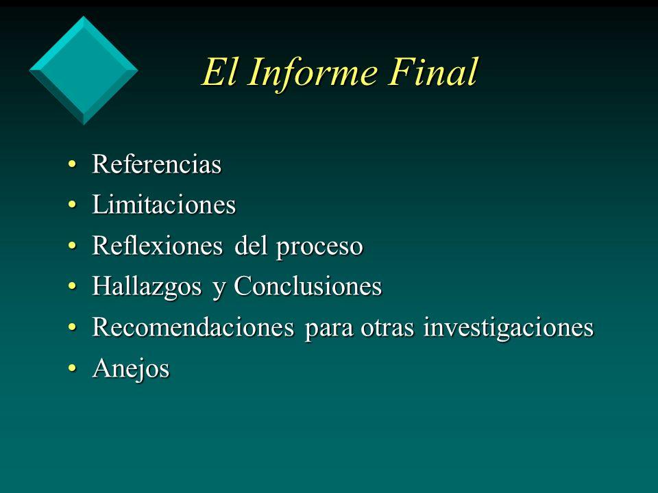 El Informe Final Referencias Limitaciones Reflexiones del proceso