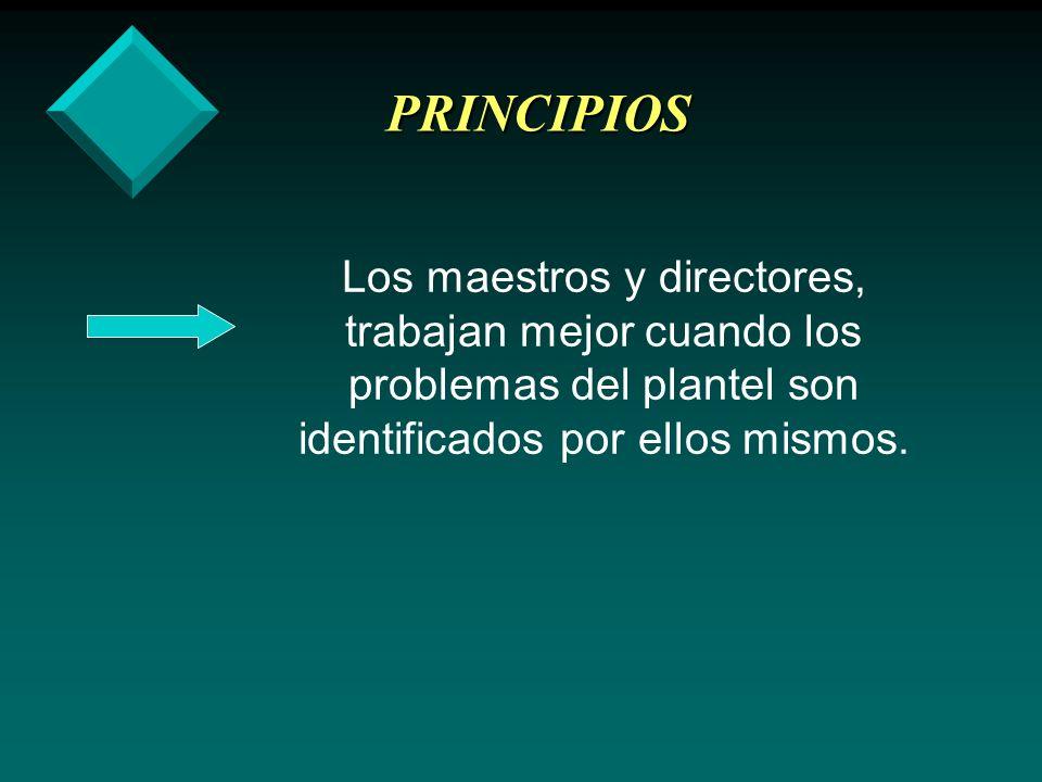 PRINCIPIOS Los maestros y directores, trabajan mejor cuando los problemas del plantel son identificados por ellos mismos.