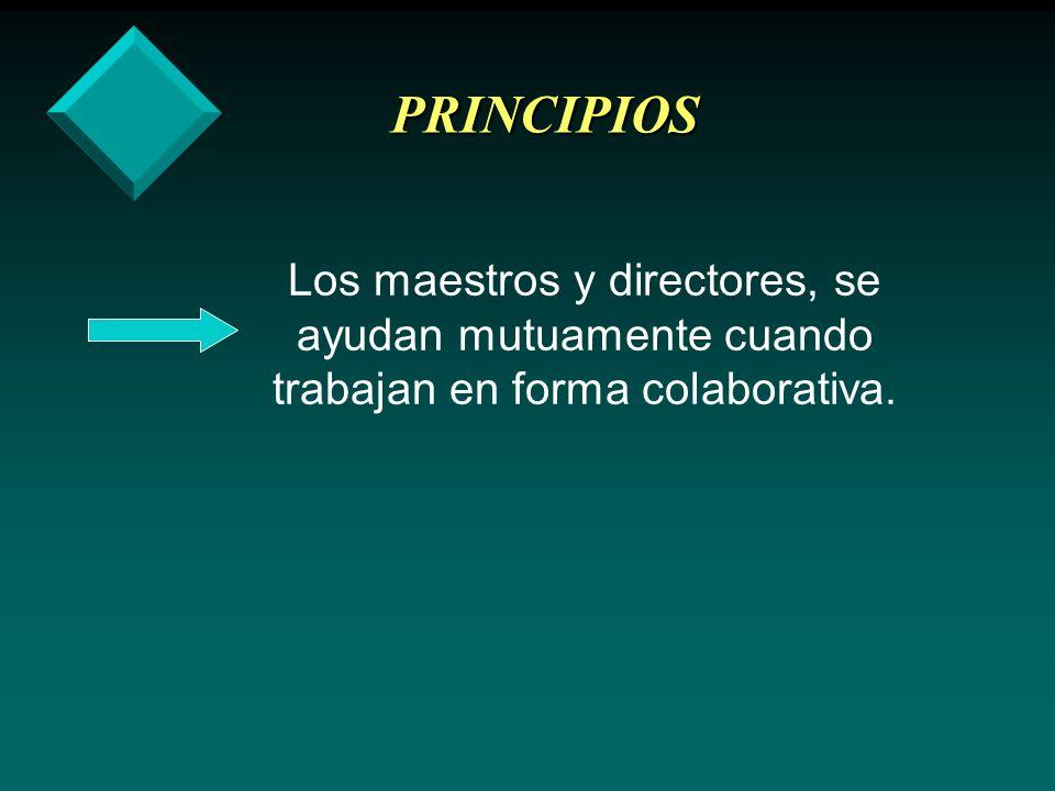 PRINCIPIOS Los maestros y directores, se ayudan mutuamente cuando trabajan en forma colaborativa.