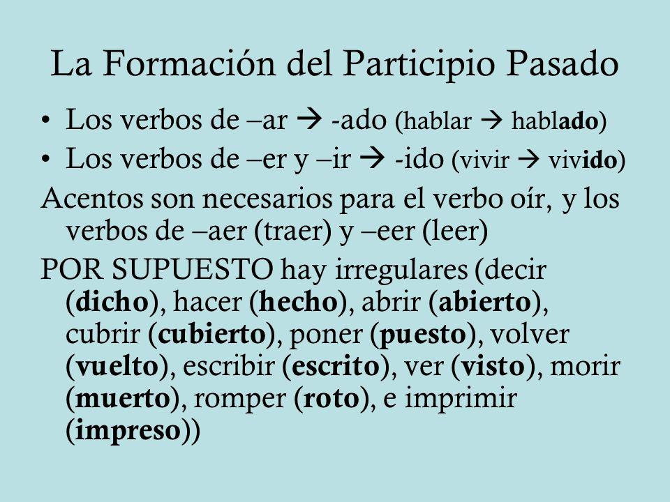 La Formación del Participio Pasado
