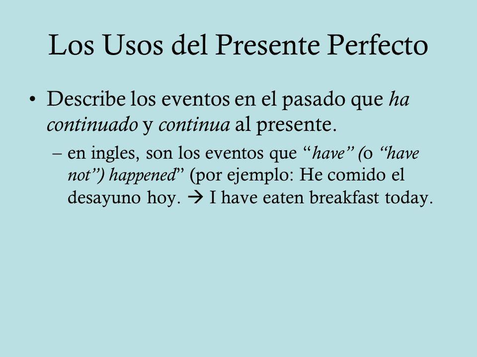 Los Usos del Presente Perfecto