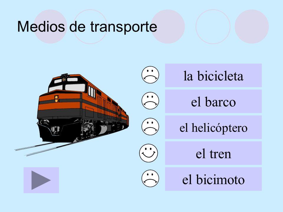 Medios de transporte la bicicleta el barco el tren el bicimoto