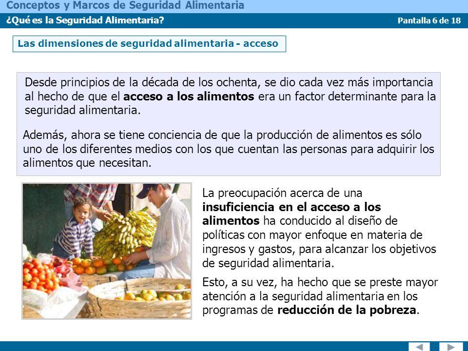 Las dimensiones de seguridad alimentaria - acceso