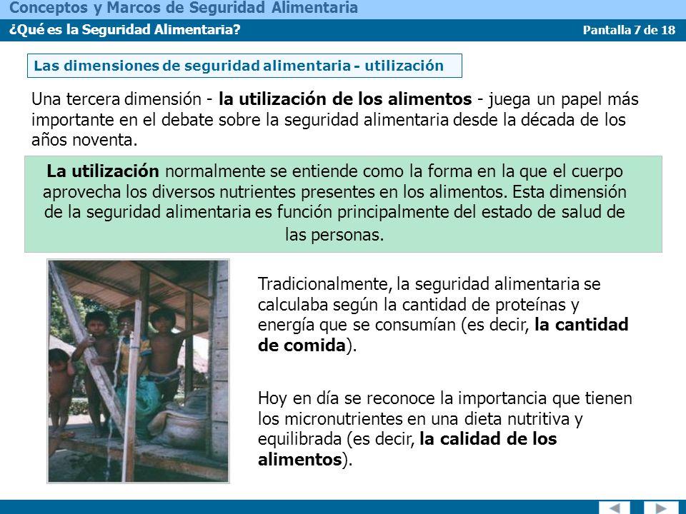 Las dimensiones de seguridad alimentaria - utilización
