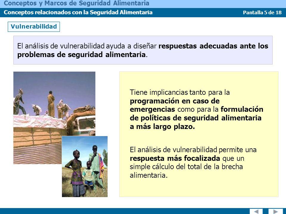 Vulnerabilidad El análisis de vulnerabilidad ayuda a diseñar respuestas adecuadas ante los problemas de seguridad alimentaria.