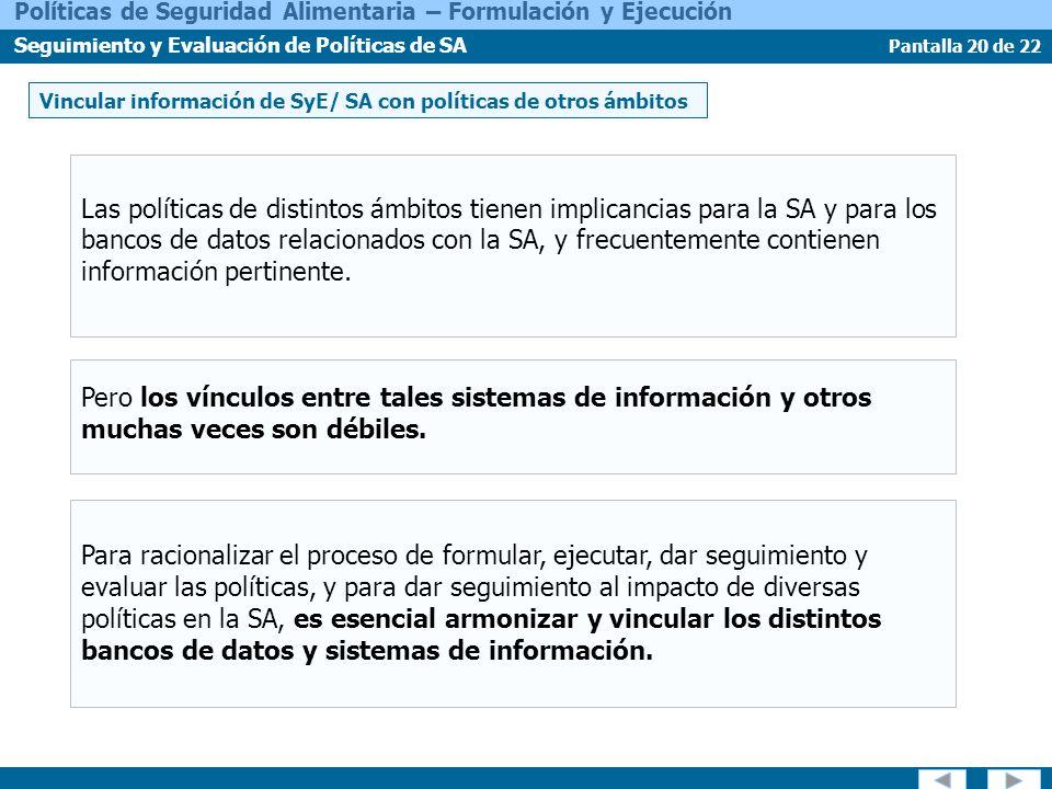 Vincular información de SyE/ SA con políticas de otros ámbitos