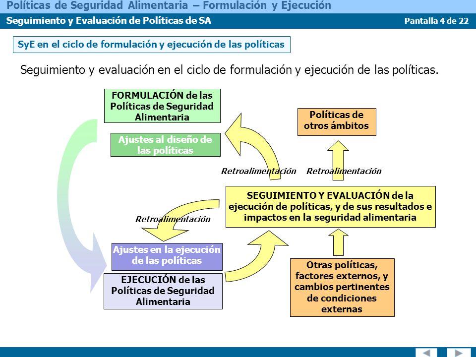 SyE en el ciclo de formulación y ejecución de las políticas