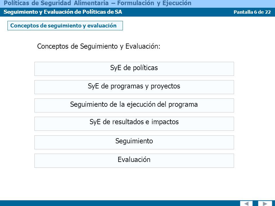 Conceptos de Seguimiento y Evaluación: