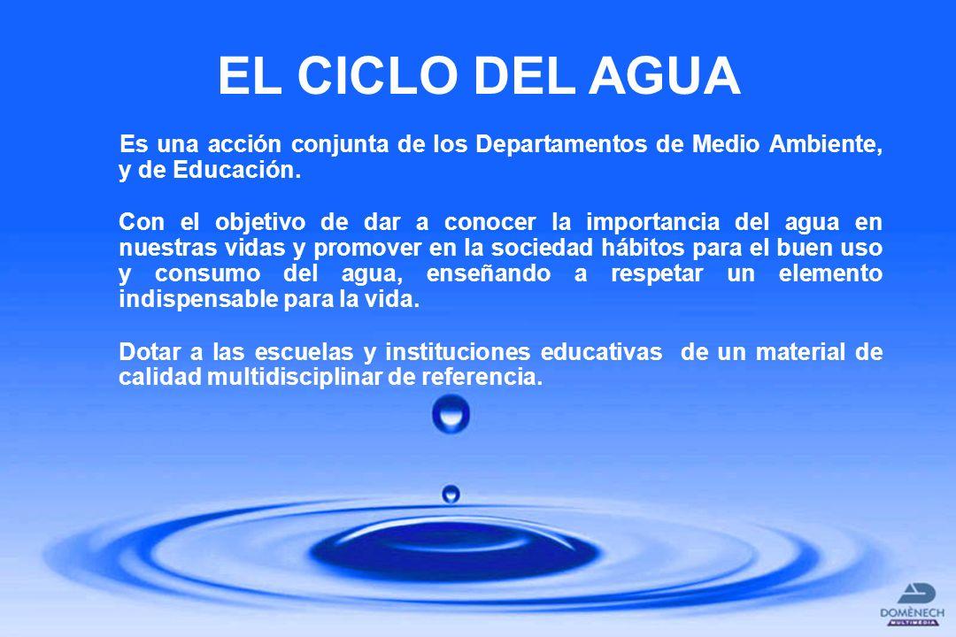 EL CICLO DEL AGUA Es una acción conjunta de los Departamentos de Medio Ambiente, y de Educación.