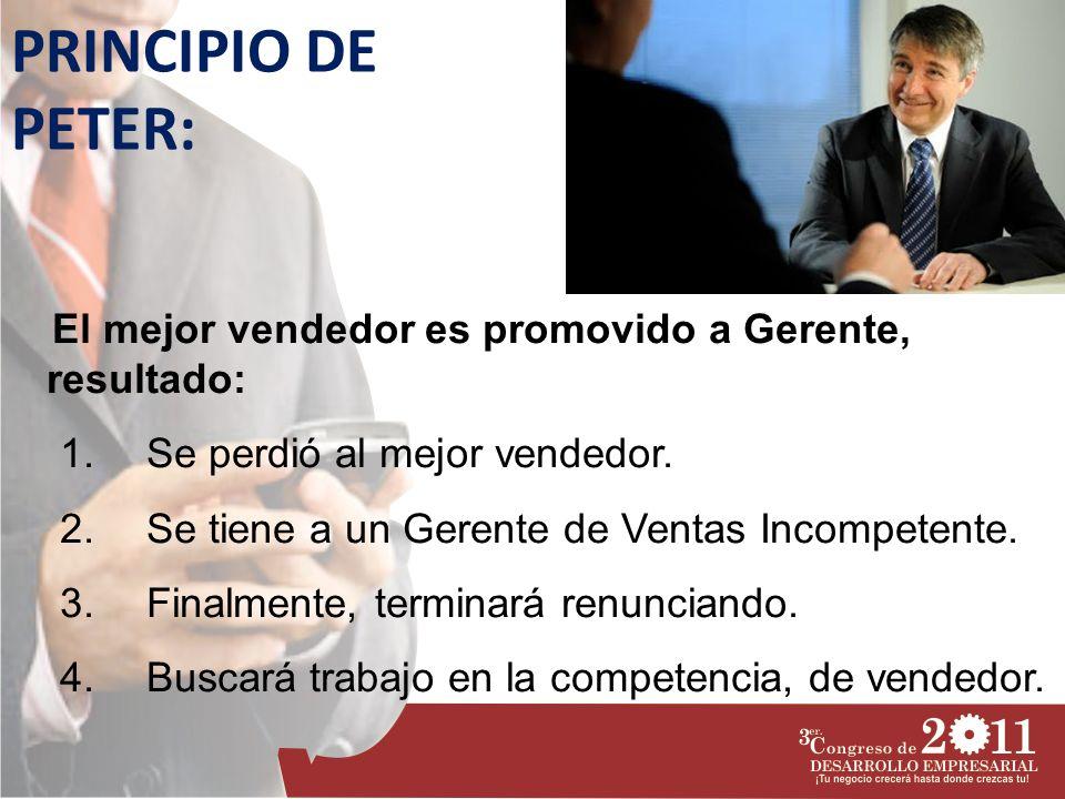 PRINCIPIO DE PETER: El mejor vendedor es promovido a Gerente, resultado: Se perdió al mejor vendedor.