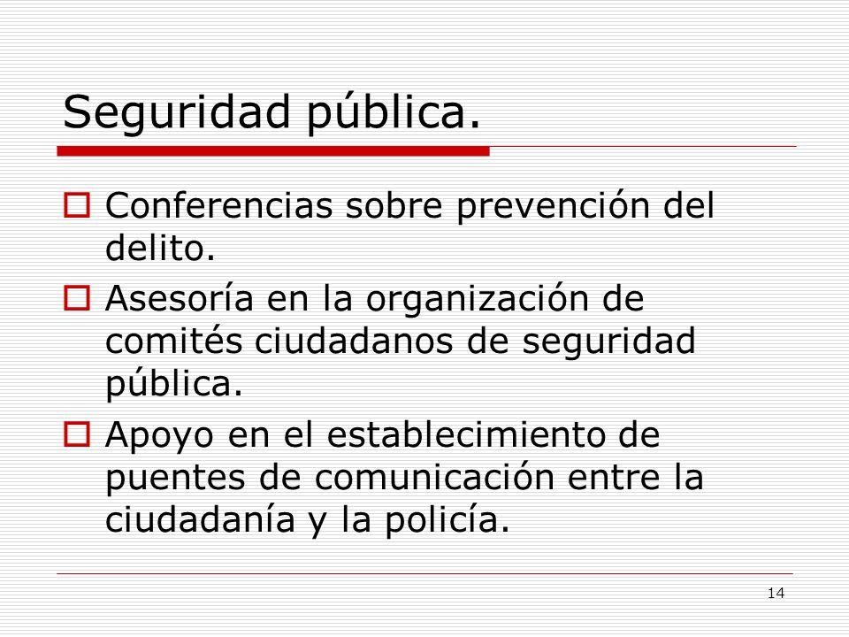 Seguridad pública. Conferencias sobre prevención del delito.