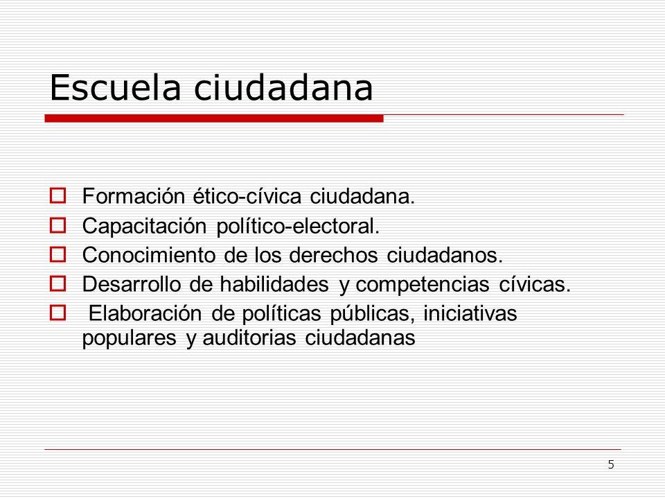 Escuela ciudadana Formación ético-cívica ciudadana.