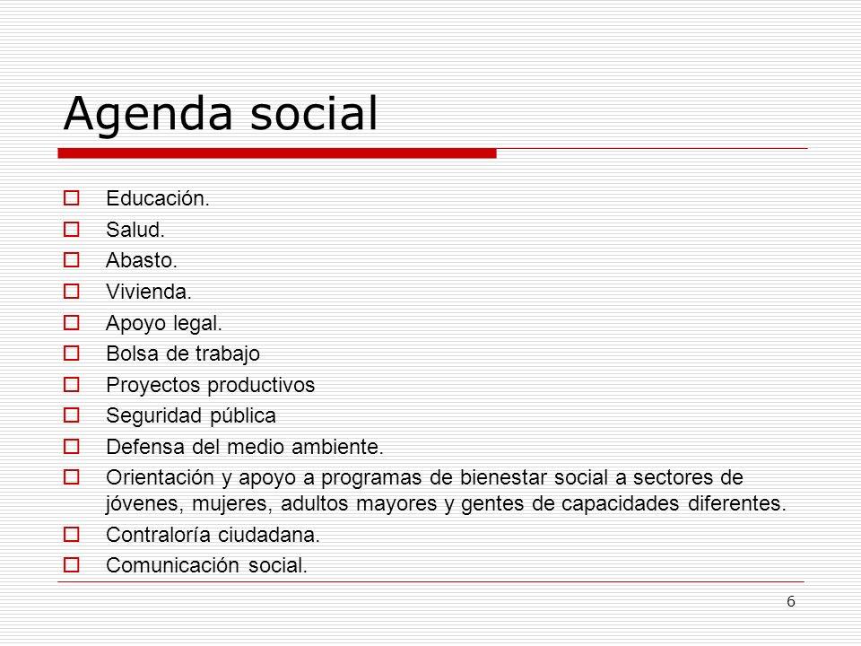 Agenda social Educación. Salud. Abasto. Vivienda. Apoyo legal.