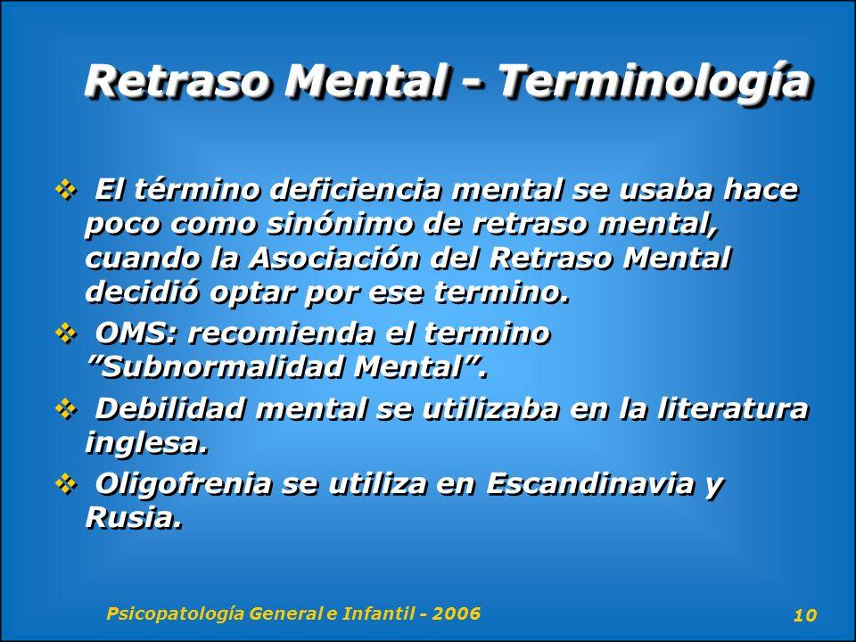 Retraso Mental - Terminología