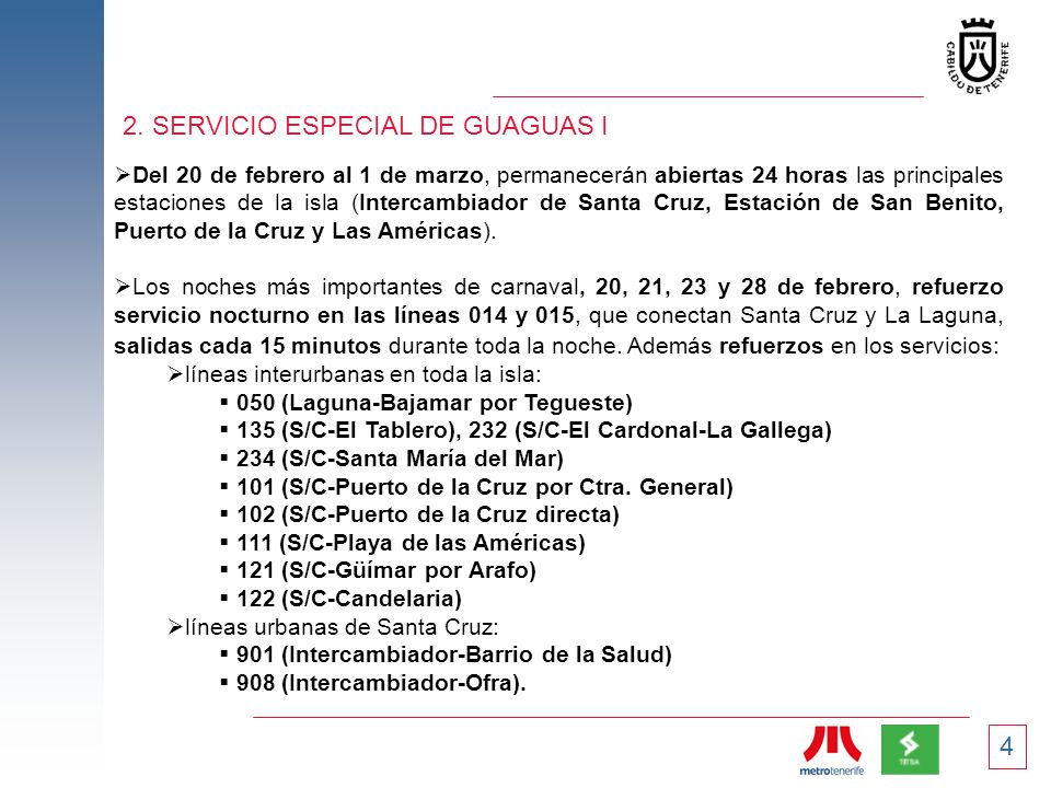 2. SERVICIO ESPECIAL DE GUAGUAS I