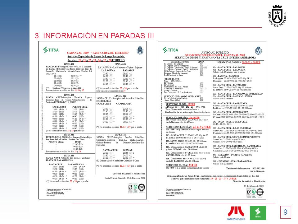 3. INFORMACIÓN EN PARADAS III