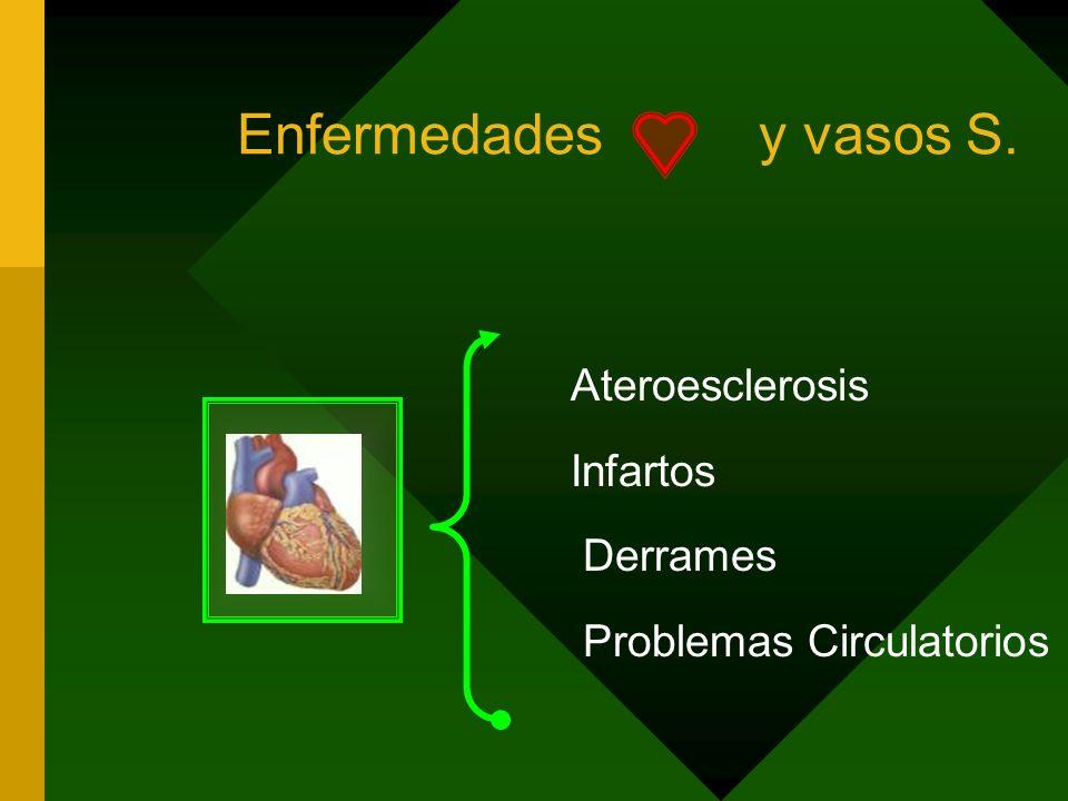 Enfermedades y vasos S. Ateroesclerosis Infartos Derrames