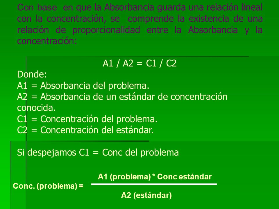 A1 = Absorbancia del problema.